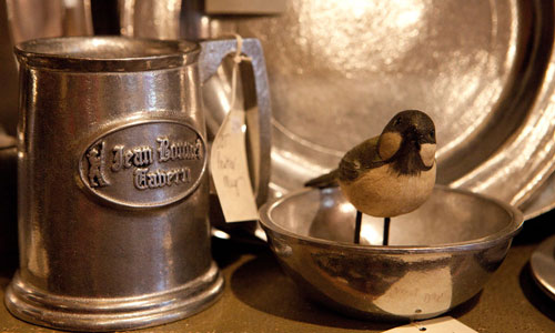 Pewter mug and platter sold at Jean Bonnet Cabin Shoppe