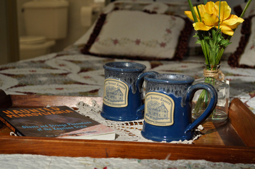 Detail of cozy bedroom at Jean Bonnet Tavern, Bedford, PA