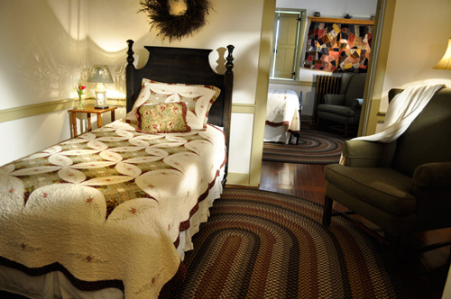 Cozy adjoining bedrooms at the Jean Bonnet Tavern, Bedford, PA