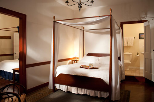 Adjoining double size bedrooms, each with a private bath at the Jean Bonnet Tavern B&B, Bedford, PAPA
