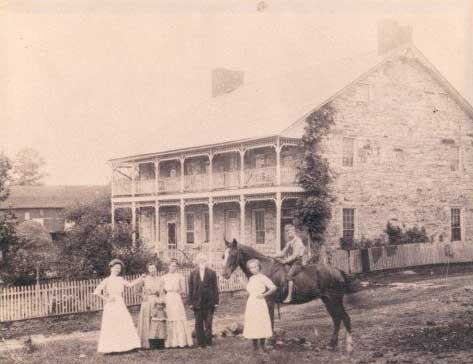 Early Photo of group in front of the Jean Bonnet Tavern, Bedford PA