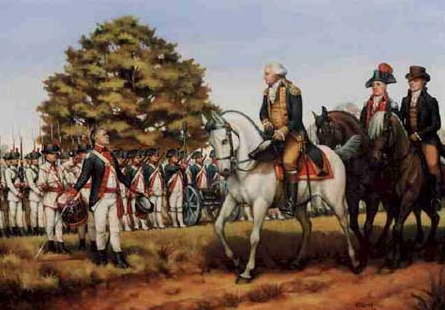 Washington reviewing troops at Carlisle PA during Whiskey Rebellion