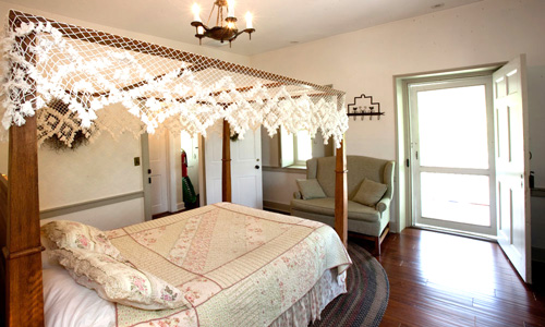 Queen Bed with Hand Crocheted Canopy