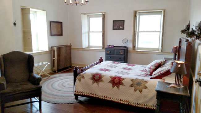 Reverse Angle of Queen Bed in Room 2 at Jean Bonnet Tavern, Bedford PA